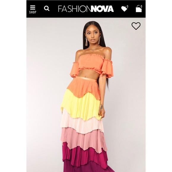 52ea86cbf9 Colorful crop top   maxi skirt set. NWT. Fashion Nova
